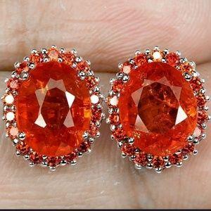 Orange Oval Sapphire Earrings